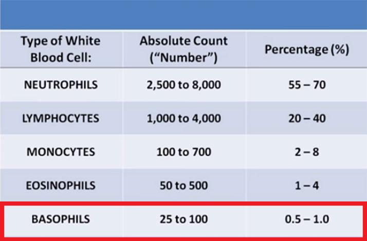 مقدار طبیعی BAS در آزمایش خون